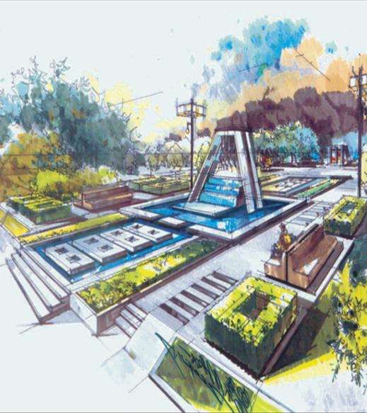 城市广场整体规划手绘图